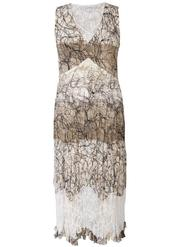 Ivory & Mocca Scribble Print Lace Trim Dress
