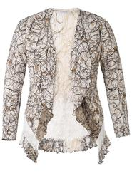 Ivory & Mocca Scribble Print Lace Trim Shrug