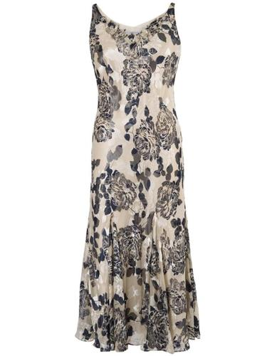 Vanilla & Navy Applique Emb Floral Devoree Dress