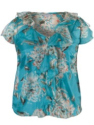 Turquoise Floral Print Top