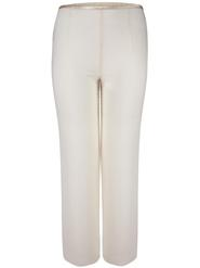 Cream Satin Trim Chiffon Trouser