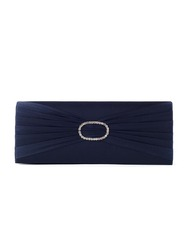 Navy Satin Diamanté Clutch Bag