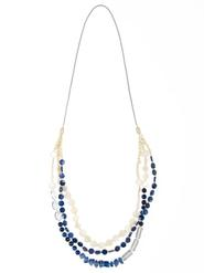 Hummingbird at Chesca Navy/Ivory Shell Beaded Necklace